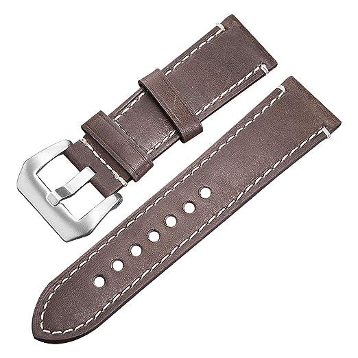 a986d8e6c605 Correa de Reloj 24mm Cuero Genuino NATO Watch Band para Mujer Hombre   Amazon.es  Relojes
