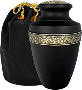 Trupoint Memorials Serenity Black Large Adult Cremation Urn for Human Ashes - A Beautiful Urn to Honor Your Loved One Lost - with Velvet Bag