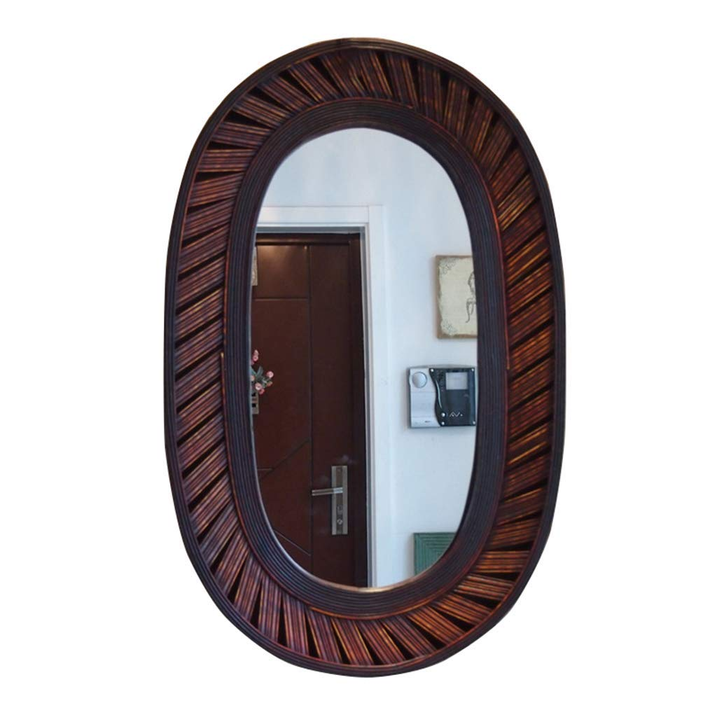 Oval Classic Round Wall Mirror - American Retro Wall Mirror - Handcrafted Accent Mirror Bamboo Frame Mirror Wall Entry Entryway
