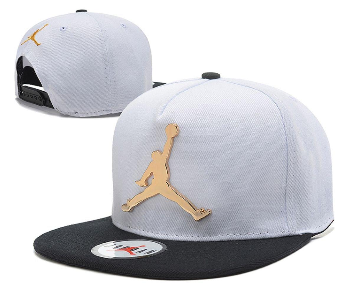 515f7f279c6 2018 Jumpman Air Jordan Hat Iron Standard Hip-Hop Cap White Gold Logo with  Black Brim  Amazon.co.uk  Sports   Outdoors