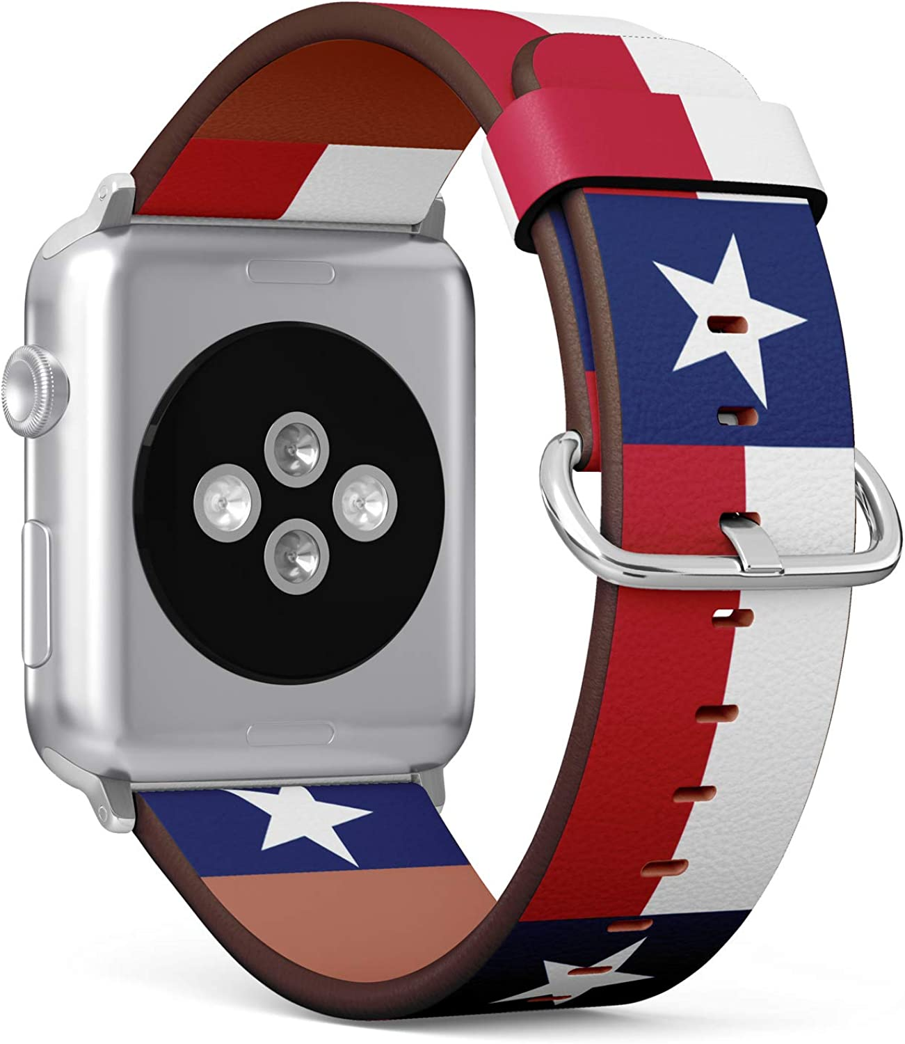 (State Flag of Texas) Patterned Leather Wristband Strap for Apple Watch Series 4/3/2/1 gen,Replacement for iWatch 42mm / 44mm Bands