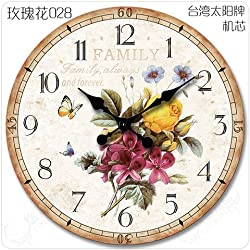 Quietness @ Modern Colorful Creative Silent Non-ticking Wall Clock Continental idyllic /20 inch/ rose 028 large size no seconds