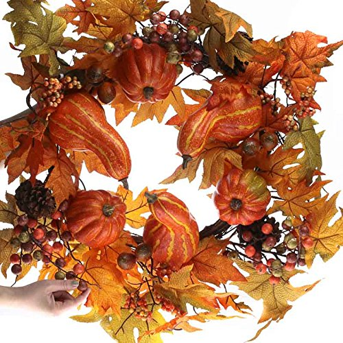Factory Direct Craft Grand Fall Artificial Gourd and Berry Wreath for Home Decor, Crafting and Displaying