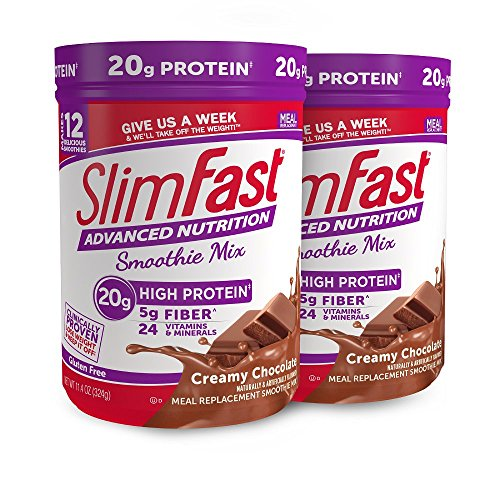 SlimFast Advanced Nutrition Creamy Chocolate Smoothie Mix - Weight Loss Meal Replacement - 20g of protein - 11.01 oz. Canister - 12 servings (Pack of 2) (Best Snacks To Lose Weight Fast)