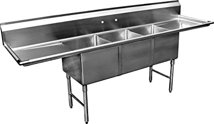 Allstrong ALLST SE18183D 3 Compartment Sink With 18u0026quot; Drain Boards,  18u0026quot; X