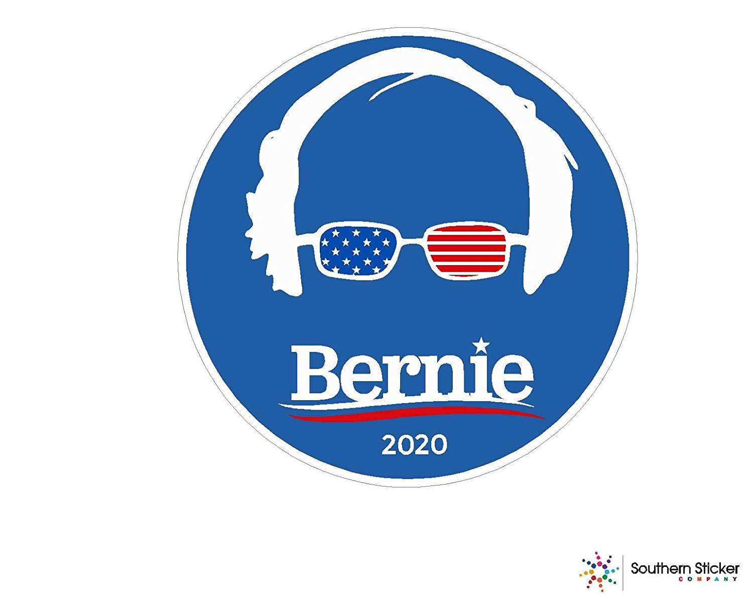 Oval bernie sanders 2020 half face sunglasses 2x2 inches each order comes with 3 stickers president election trump politics voting love baby laptop car