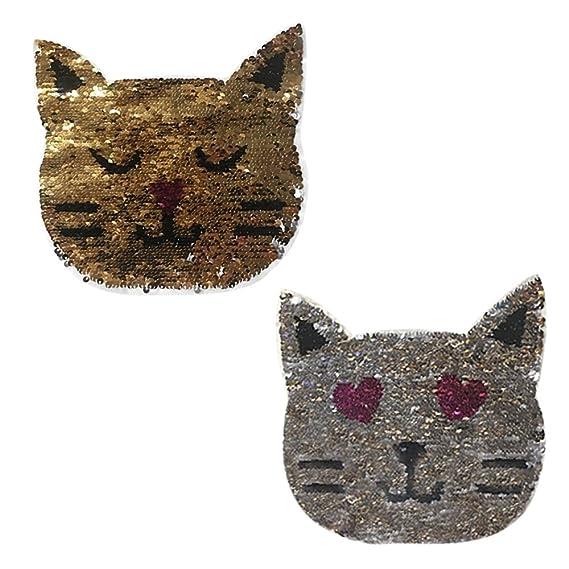 Patrón de cambio de gato lentejuelas color coser-en apliques parches ...