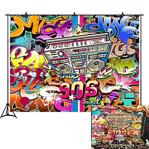 (7x5ft 90th Graffiti Photography Backdrop Vinyl Hip Hop Photo Studio Background Photographic Party Decorations)