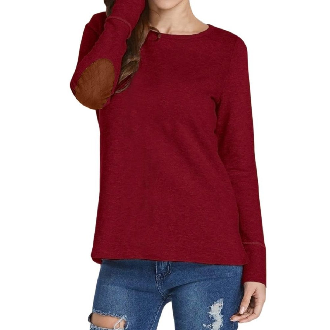 GONKOMA Hot Sale! Womens Blouse Casual Long Sleeve O Neck T Shirt Pullover Sweatshirt Loose Patchwork Tee Tops Wine Red) XWJ520
