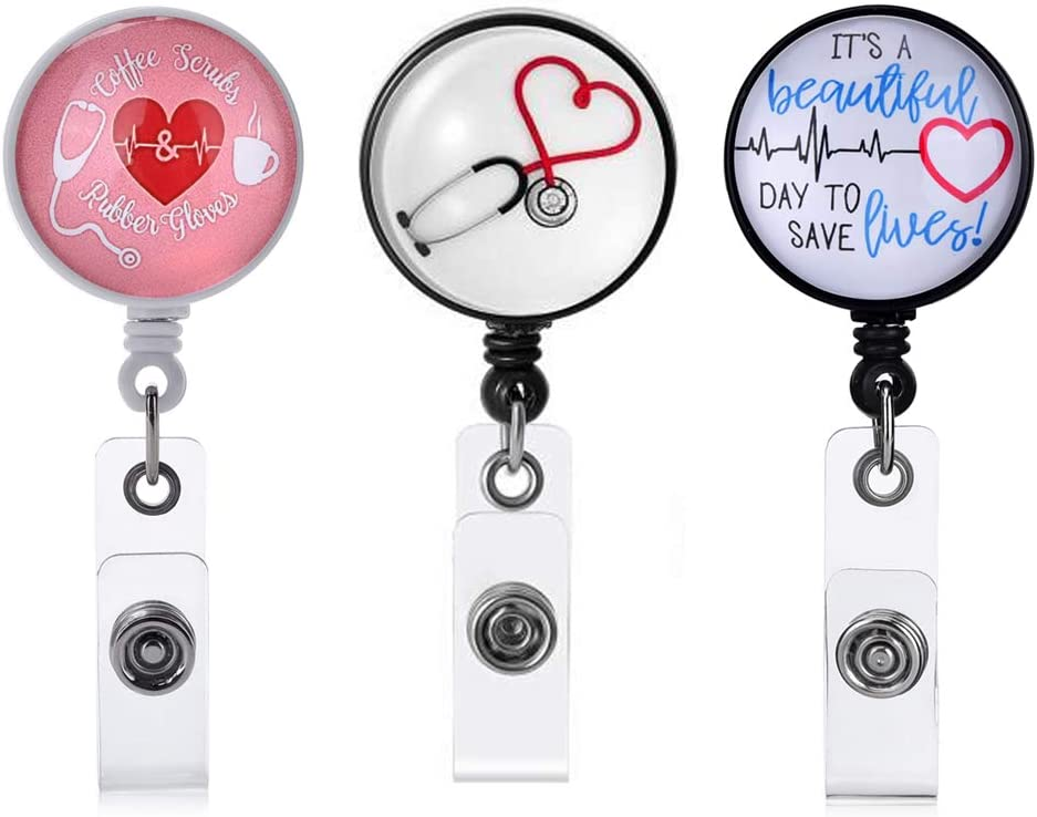Nurse Badge Holder Reel, 3 Pcs Retractable Badge Reels with Alligator Clip, Name/ID Card Holders for Nursing and School Student 24 inch Nylon Cord