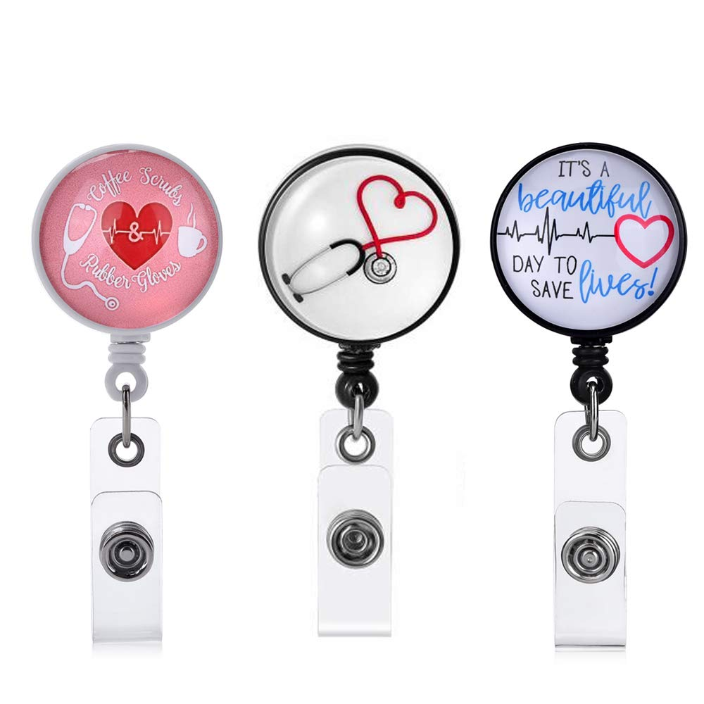 Nurse Badge Holder Reel, 3 Pcs Retractable Badge Reels with Alligator Clip, Name / ID Card Holders for Nursing and School Student 24 inch Nylon Cord