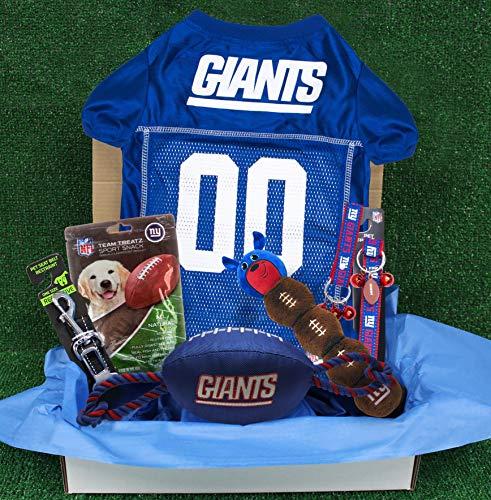 NFL New York Giants PET GIFT BOX with 2 Licensed DOG TOYS, 1 Logo-engraved NATURAL DOG TREAT, 1 NFL JERSEY, 1 NFL Puppy Training Bells & 1 Car Seatbelt