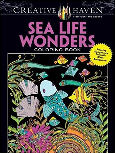 Creative Haven Sea Life Wonders Coloring Book: Amazing Designs on a Dramatic Black Background (Adult Coloring)