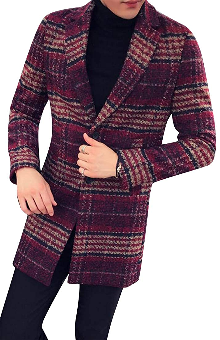 YYG Mens All Business Plaid Regular Fit Two Button Turn Down Collar Winter Wool-Outerwear-Coats