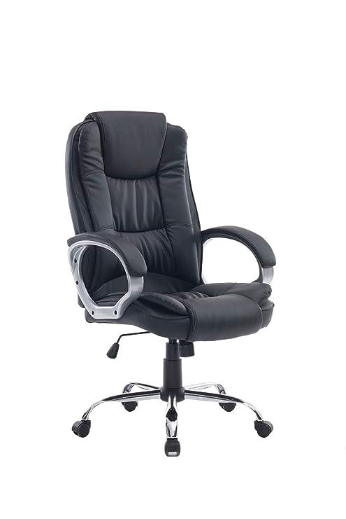 HOGAR24 ES Silla sillón de Oficina Estudio Alta Gama tapizado en Piel sintética, Color Negro.