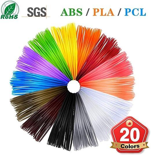 Nwhzl 3D Bolígrafo Filamento PLA ABS PCL, 1,75 mm, 20 Colores ...