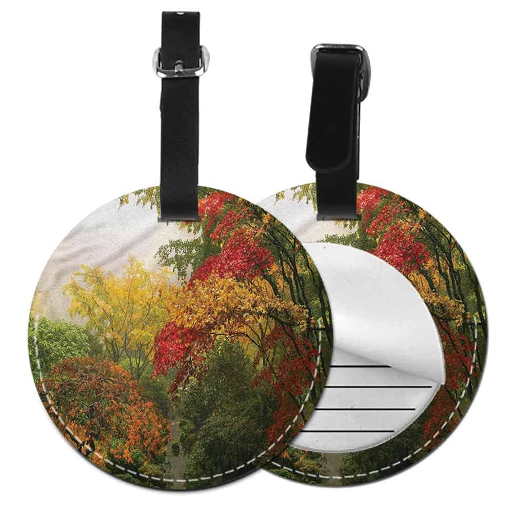 Round Luggage Tags Garden,Meadow Daisies Pansies Holder Portable Label