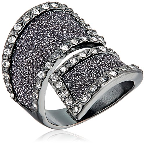 Guess Glitter and Stone Bypass Wrap Hematite Ring, Size 7