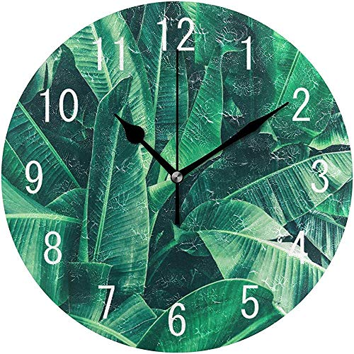 Axige888 Watercolor Tropical Banana Leaf Round Wood Wall Clock for Home Decor Living Room Kitchen Bedroom Office School