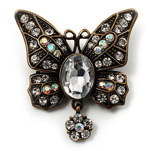 Avalaya Vintage Butterfly with Dangling Floral Tail Brooch (Antique Bronze Tone)