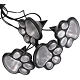 "Briday 4 solar dog animal paw print Lights garden lantern Decor LED path 3"" light lamp (white)"