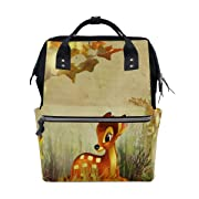 Diaper Bags Fall Bambi Autumn Flowers Fashion Mummy Backpack Multi Functions Large Capacity Nappy Bag Nursing Bag for Baby Care for Traveling