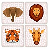 Wild Animals Lion, Elephant, Tiger, Giraffe Stone Drink Coaster Set - 4 pieces - Jungle Design