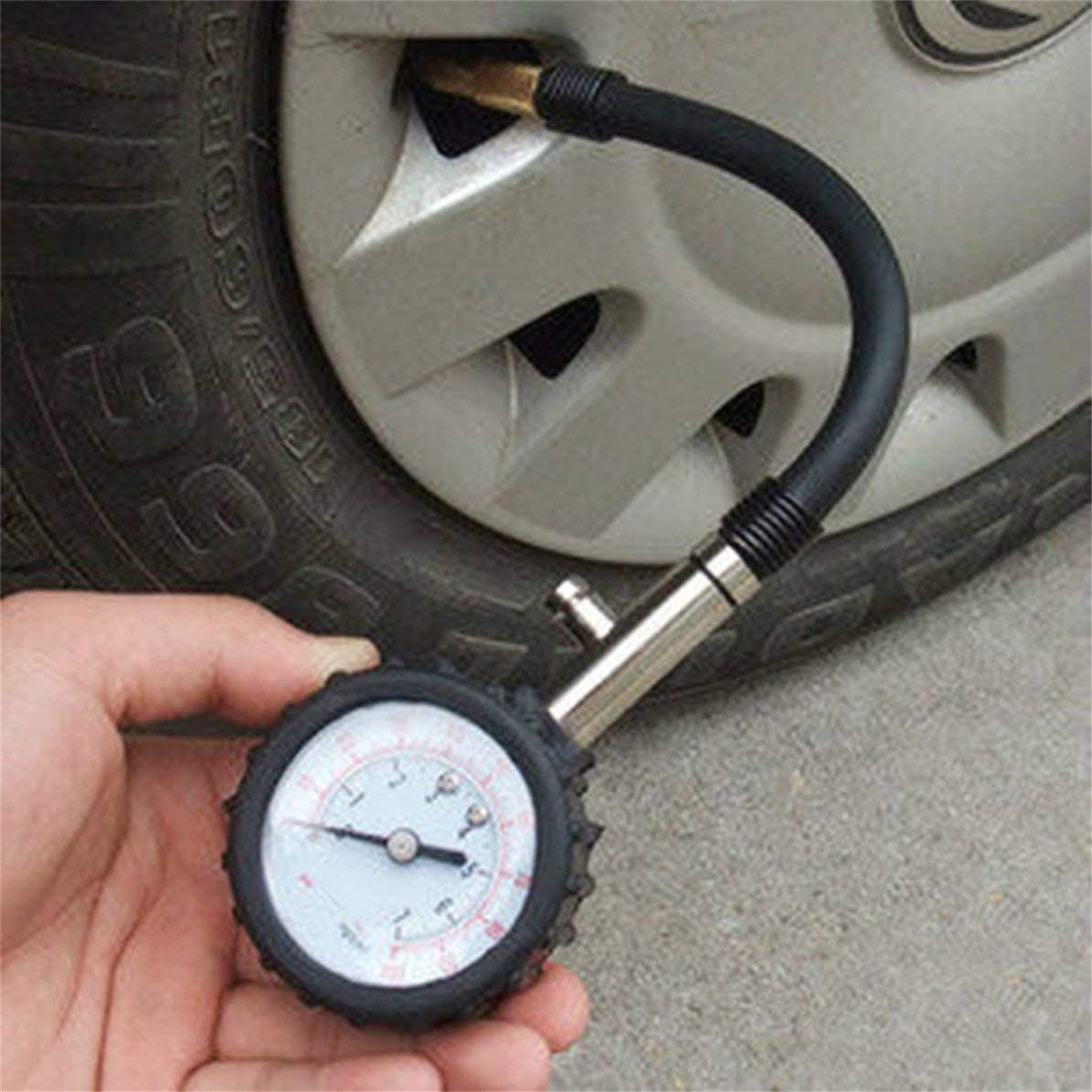 Wei/ß MarinoBIRD Meter Reifendruckmesser 0-100PSI Auto Car Bike Motor Reifen Luftdruckmesser Meter Fahrzeugpr/üfsystem /Überwachungssystem Messger/ät Schwarz