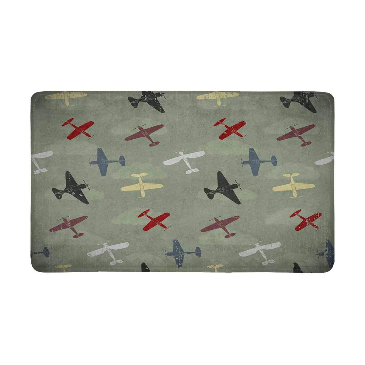 InterestPrint Retro War Planes Pattern Indoor Entrance Rug Floor Mats Shoe Scraper Doormat 30 X 18 Inches