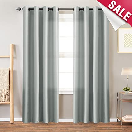 Grey Curtains Faux Silk Window Curtains Living Room 84 inch Length Dupioni  Gray Curtain Panels Bedroom Grommet Top Window Treatments Light Filtering  ...