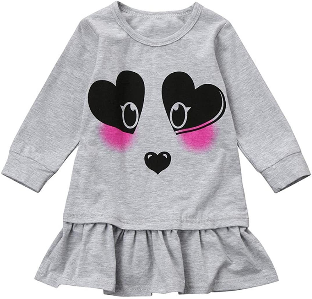 FORESTIME Toddler Kids Baby Girls Heart Panda Print Princess Party Pageant Dress Clothes