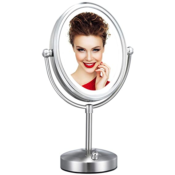 Professional 8 Lighted Makeup Mirror Vesaur Oval 7x Magnifying Led Vanity Mirror With 28 Dimmable Smds High Up To 1100lux Pearl Nickel Cosmetic Mirror Desk Lamp Night Light Alternative 2 Sided Beauty Amazon Com