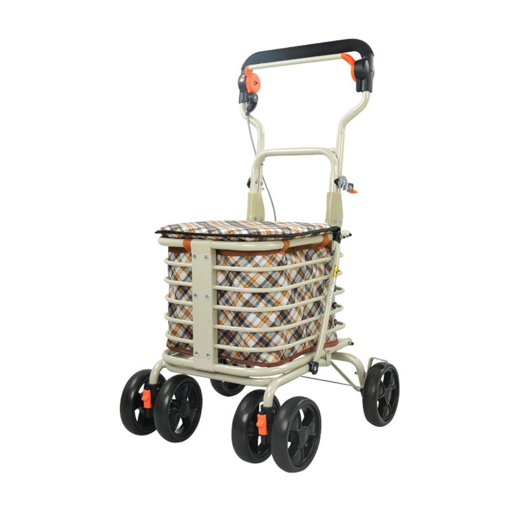 ショッピングカート、高齢者ウォーカー、折り畳み式ポータブルカート、四輪のショッピングカート、高齢者用スクーター (Color : Ivory, Size : 90 * 48 * 47cm) B07FMJ51LH Ivory 90*48*47cm