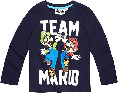 T shirt manches longues enfant garçon Mario et Luigi Marine