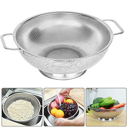 Qimh Stainless Steel Micro-perforated 6-Quart Colander Strainer with Heavy Duty Handle Ear Piercing and base, Strainer for Kitchen, Dishwasher Safe