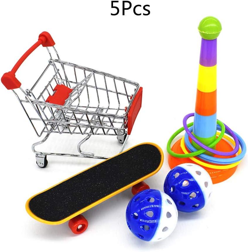 WT-YOGUET 5 piezas/juego de juguetes de entrenamiento para loros Mini carrito de la compra Anillos de entrenamiento para monopatín
