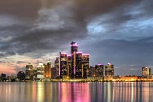 Detroit Michigan Cityscape Skyline at Dusk Photo Photograph Cool Wall Decor Art Print Poster 36x24