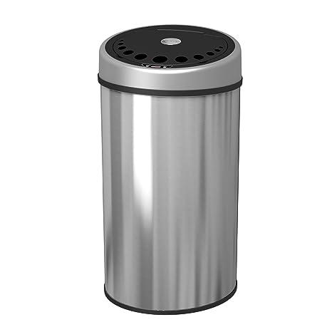 1home - Cubo de Basura Redondo de Acero Inoxidable de 50 litros con Sensor automático y sin Contacto