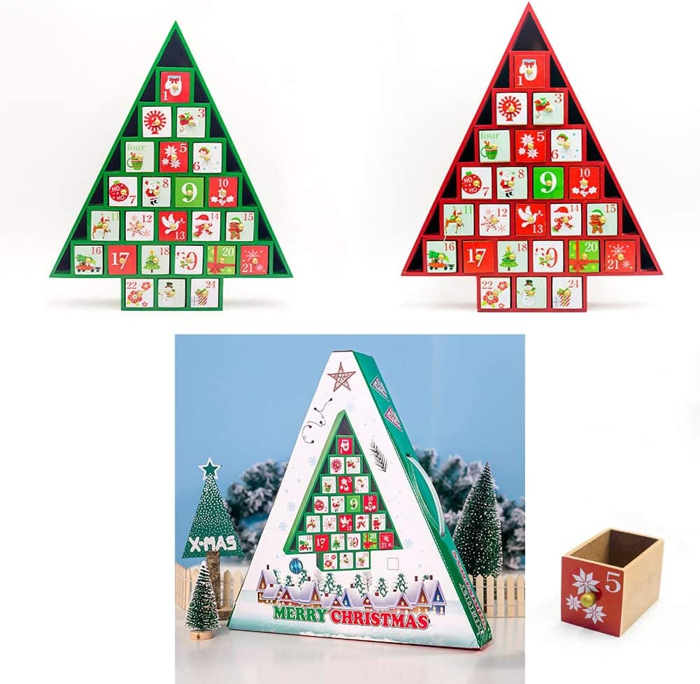 Patgoal Christmas Wooden Advent Calendar Countdown to Christmas Wooden Advent Calendar Cute Holiday Decoration