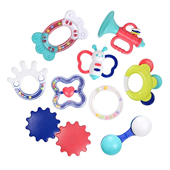 NextX Baby Rattles, Infant Teething Toys Teethers Key, Baby Bathtime Fun Toys with Musical Sound