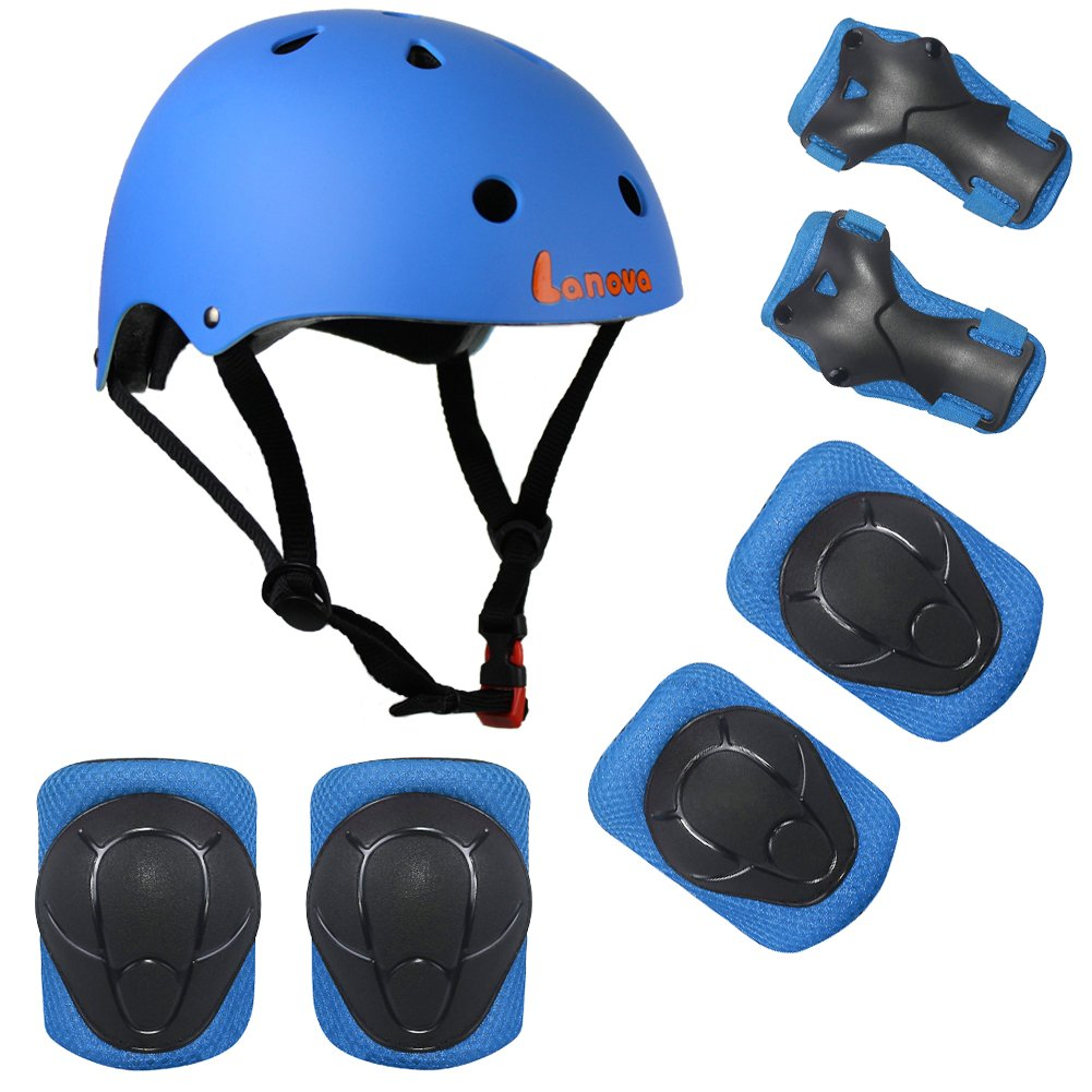 Lanova Kids Adjustable Sports Protective Gear Set Safety Pad Safeguard (Helmet Knee Elbow Wrist) Roller Bicycle BMX Bike Skateboard and Other Extreme Sports Activities (Blue)