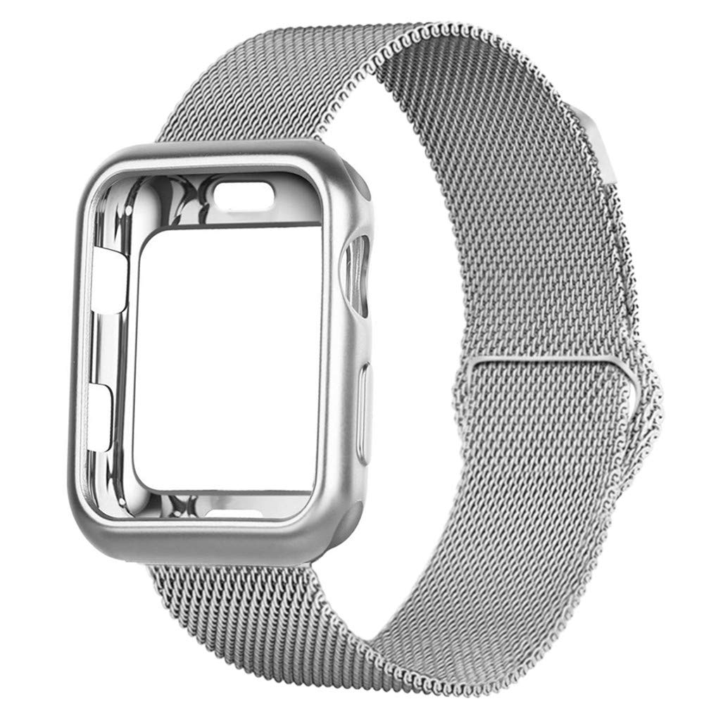 OROBAY Compatible with iWatch Band Case 38mm, Stainless Steel Magnetic Mesh Milanese Loop Band with Soft TPU Case Compatible with Apple Watch Series 3 Series 2 Series 1, Silver by OROBAY (Image #1)