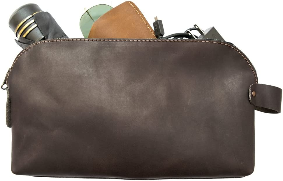Large All Purpose Dopp Kit Utility Bag Cords, Chargers, Tools, School Office Supplies Handmade by Hide Drink Espresso