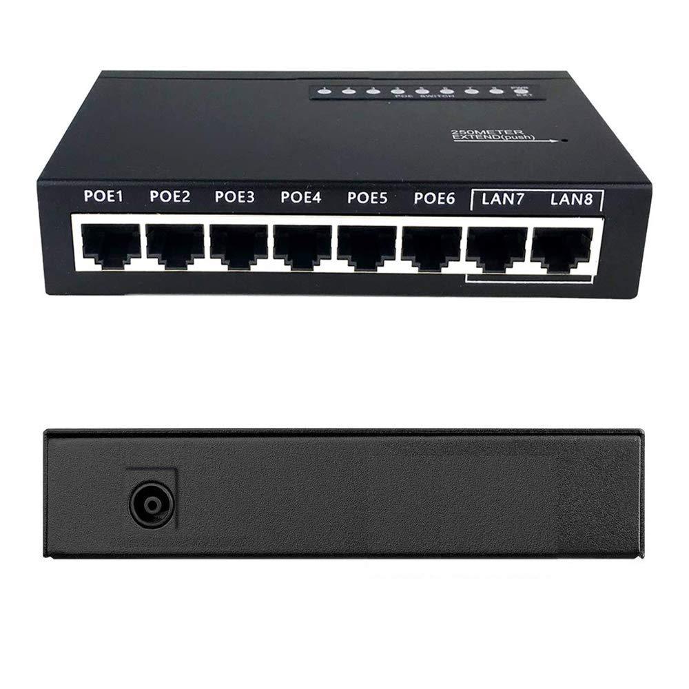 6 Port PoE + Switch (6 PoE Ports+2 Ethernet Uplink and Extend Function)8Ch IP PoE Switch 802.3af/at Unmanaged, 90W EasySmart Upgradeable ProSAFE Limited Lifetime Protection