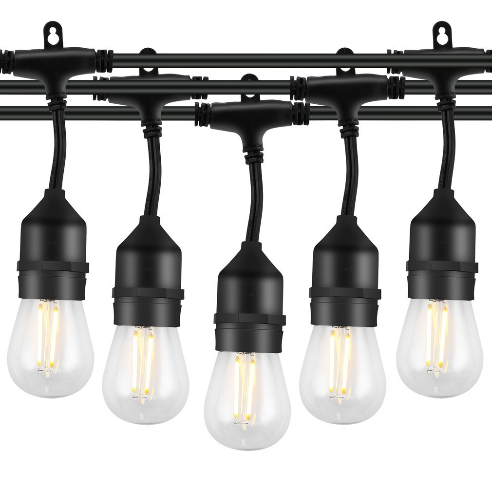 OUTAD LED Outdoor String Lights 49Ft Commercial Grade Lights Bulb Waterproof Connectable Strand for Bistro Porch Patio Garden by OUTAD