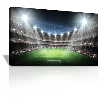 Fussball Stadion Bei Nacht Spots Auf Pitch Gerahmt