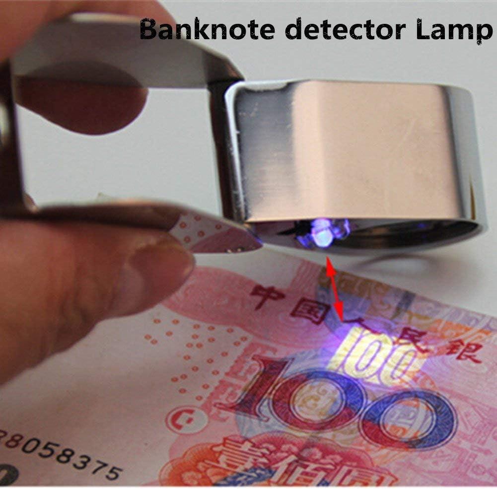 Illuminata illuminazione mini gioielli lampada 40x LED con rilevatore di banconote a raggi ultravioletti Lampada tutto metallo valutazione gioielli Pieghevole lente dingrandimento argento