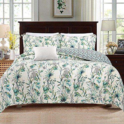 Floral Green Print (HNNSI 3 Piece Green Floral Print Quilt Comforter Set Queen Size, Flower Cotton Bedspread Quilt and Sham Sets Comfy and Soft Bedding Sets)
