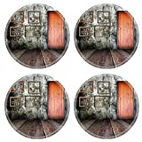 MSD Round Coasters Non-Slip Natural Rubber Desk Coasters design 23722449 Picture in vintage wood room