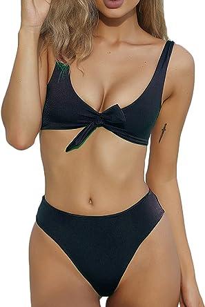 366adfd00edf Amazon.com: QINSEN Womens Tie Knot Front High Waist Thong Bandage 2PCS  Bikini Sets Beachwear: Clothing
